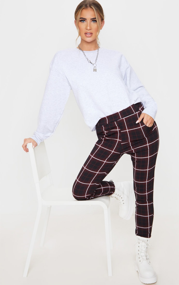 Red Check Skinny Trouser 1