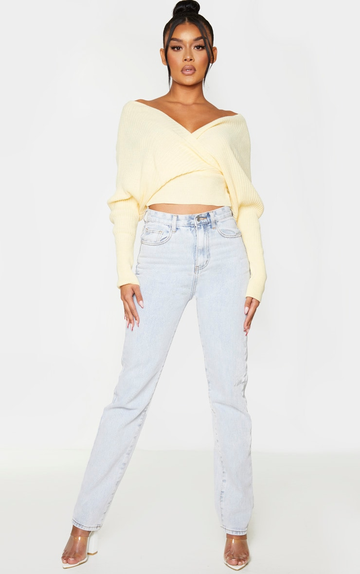 Yellow Off The Shoulder Wrap Jumper 3
