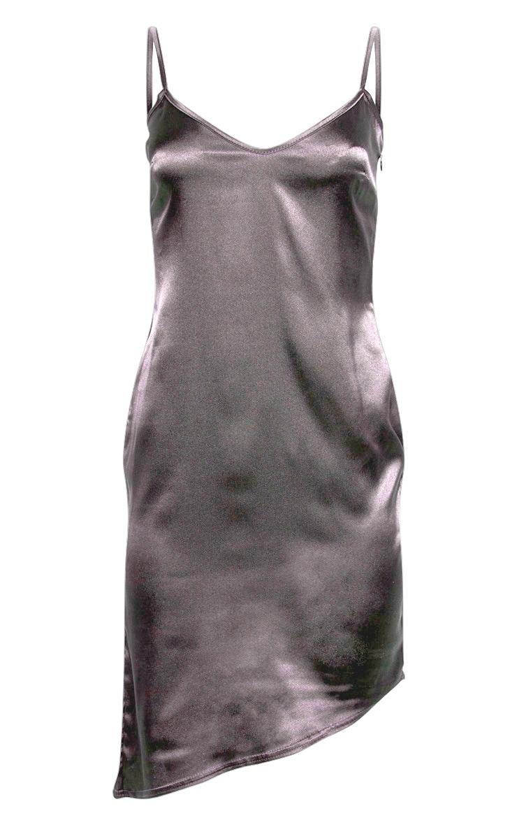 Charcoal Satin V Neck Midi Dress  3