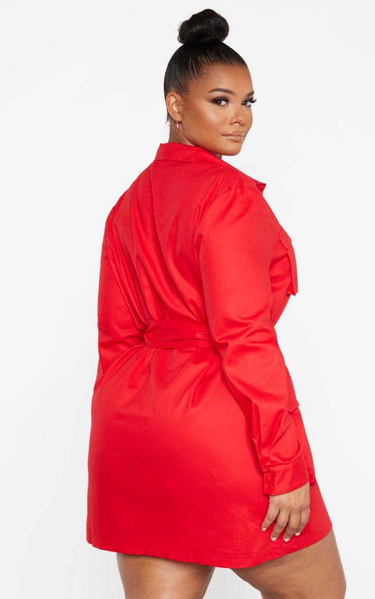 Plus Red Utility Shirt Dress 2