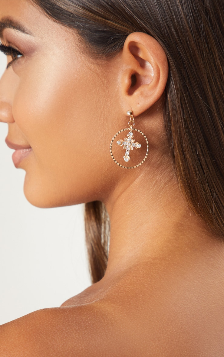 Gold Diamante Mini Cross Hoop Drop Earrings 3