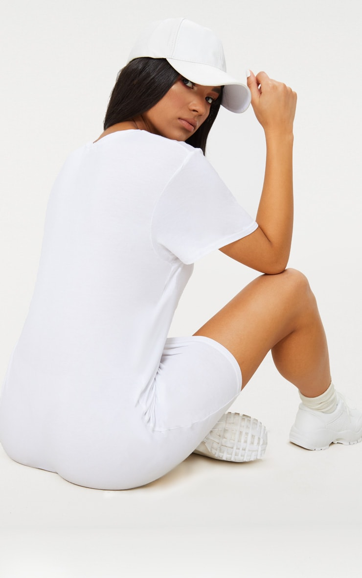 Basic White Short Sleeve T Shirt Dress 2
