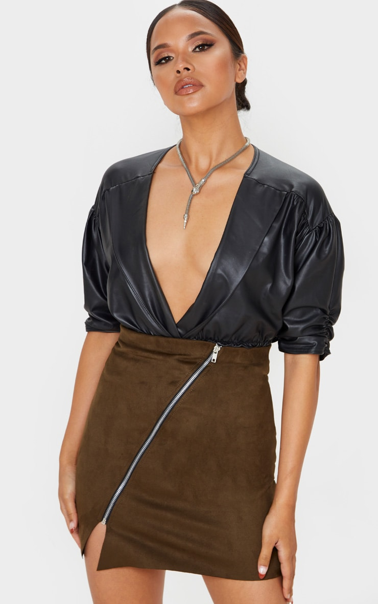 Khaki Faux Suede Zip Detail A Line Skirt 5