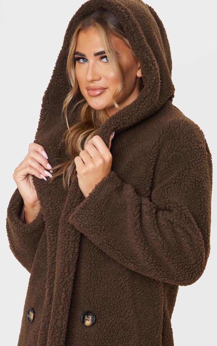 Chocolate Brown Borg Hooded Midi Coat 5