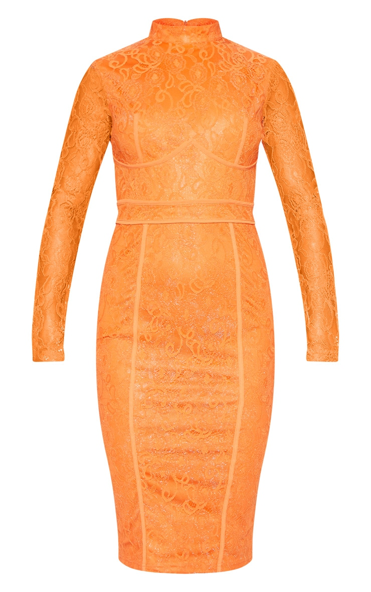 Bright Orange Lace Binding Detail High Neck Midi Dress 3
