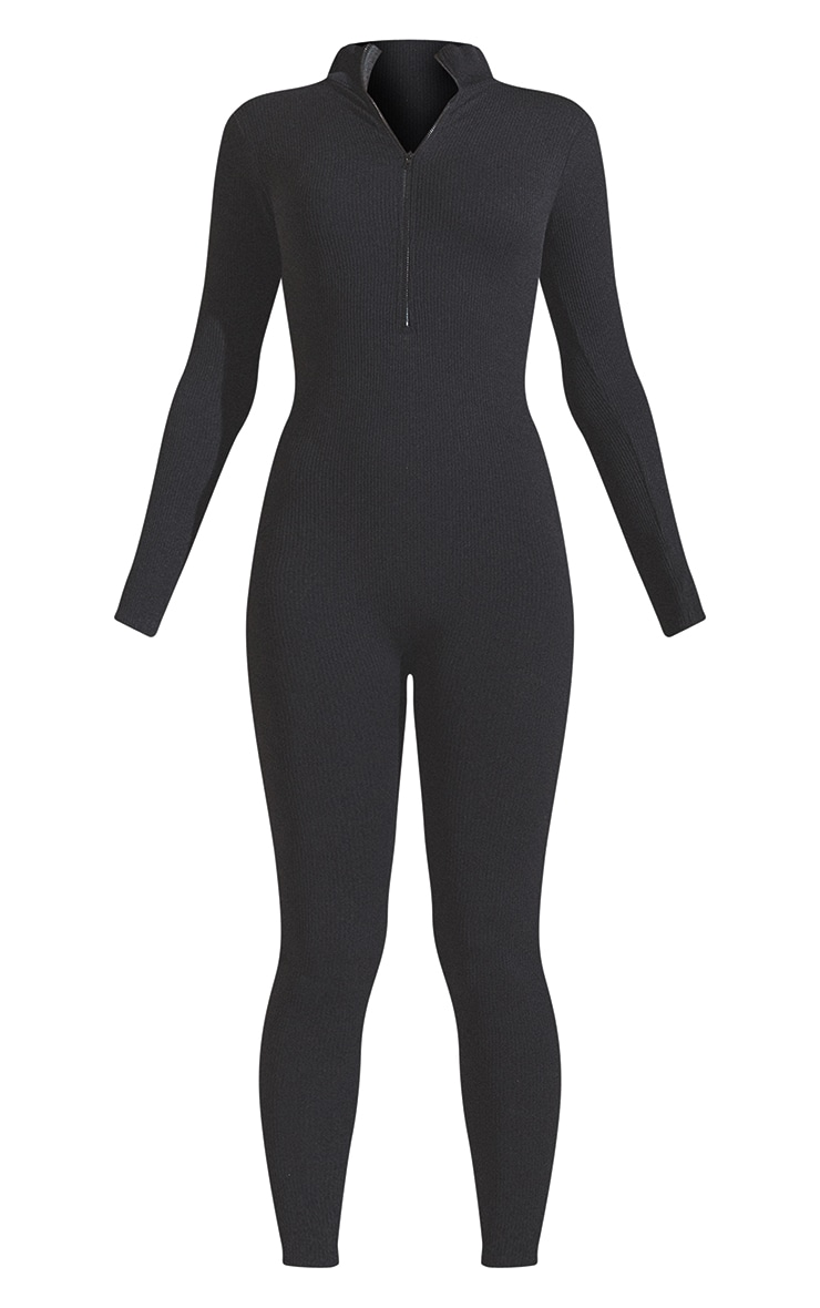 Black Structured Contour Rib Zip Jumpsuit 5