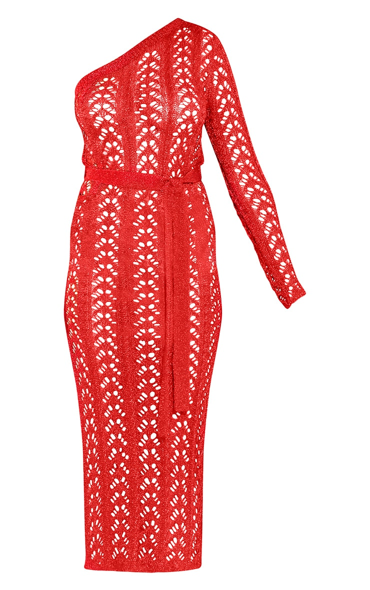 Red Metallic Knitted One Shoulder Midi Dress 3