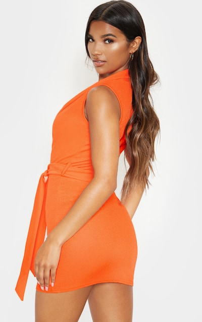 Bright Orange Lapel Detail Plunge Bodycon Dress