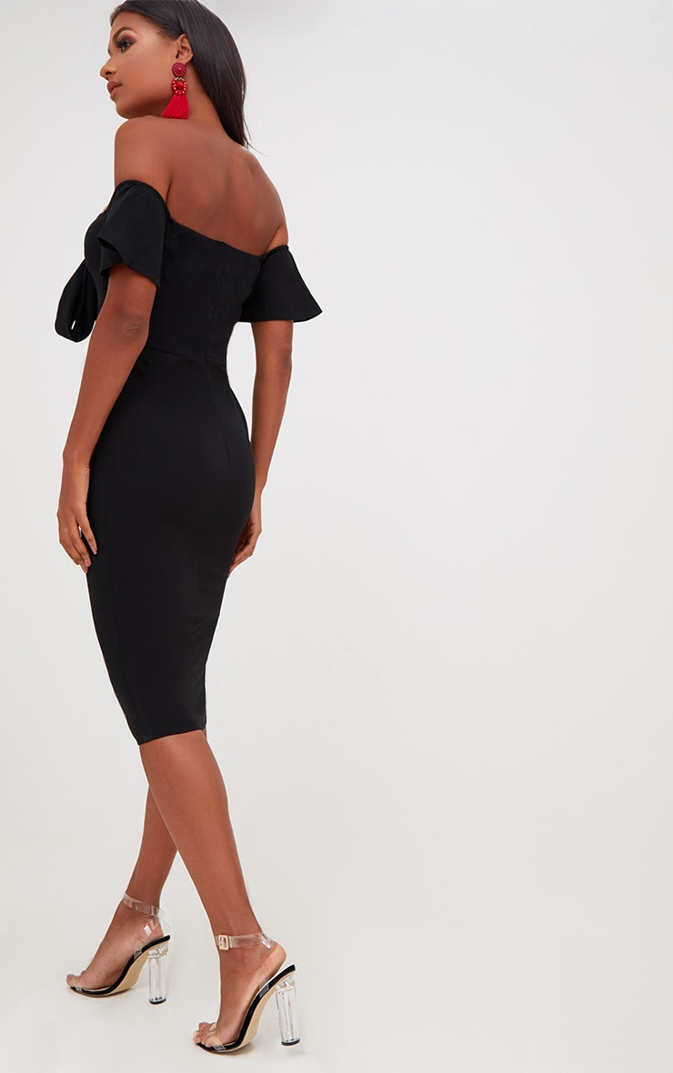 Black Bardot Tie Front Midi Dress 2