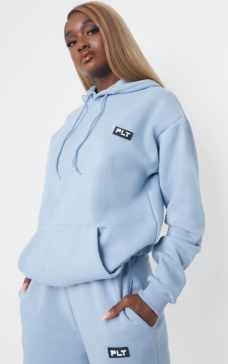 PRETTYLITTLETHING Tall Steel Blue Detail Oversized Hoodie 1