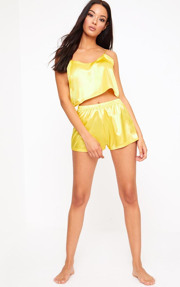 Yellow Satin Pyjama Shorts Set 4