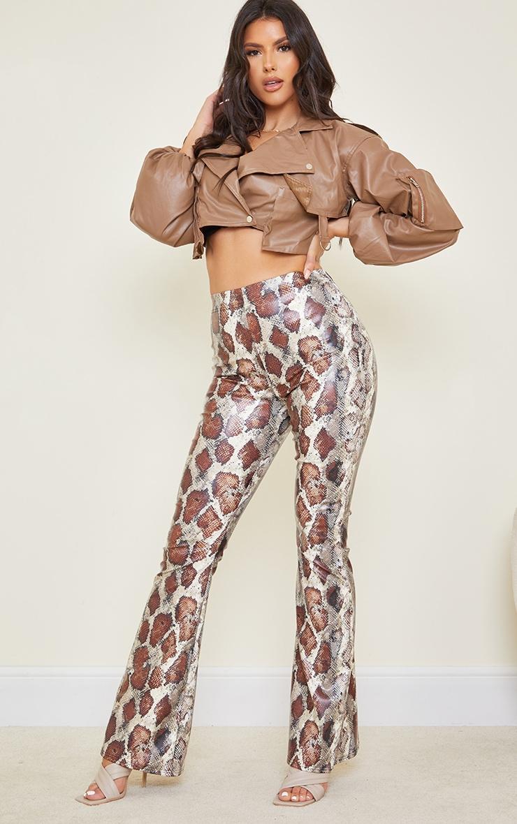 Tall Brown Snake Print PU Flared Pants 1