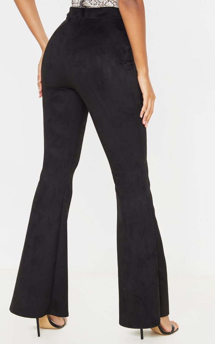 Black Faux Suede Flare  4