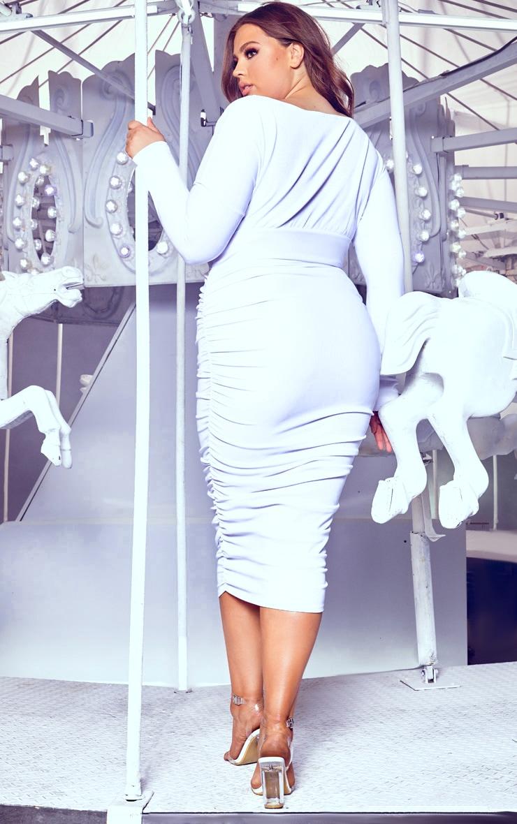 Plus White Ruched Rib Bardot Midi Dress 2