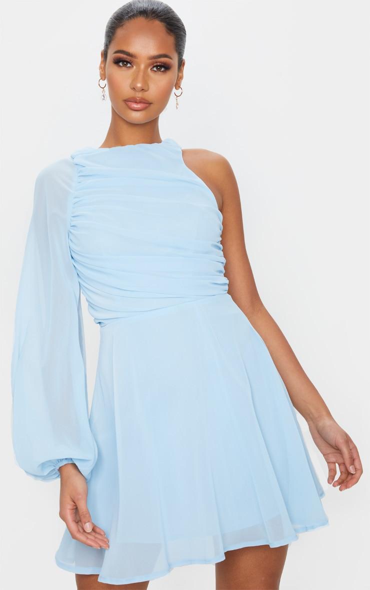 Dusty Blue Asymmetric Sleeve Ruched Chiffon Skater Dress 1