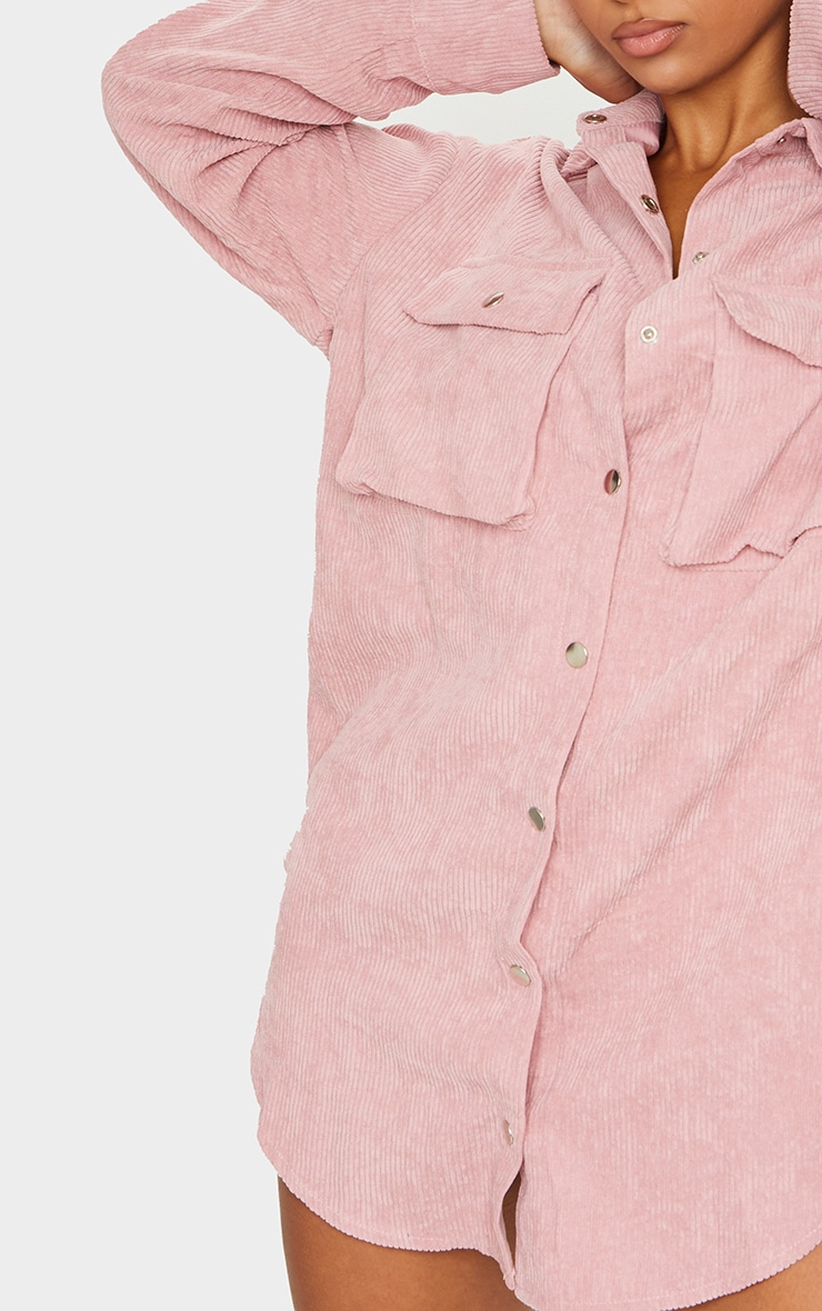 Blush Cord Pocket Detail Shirt Dress 4