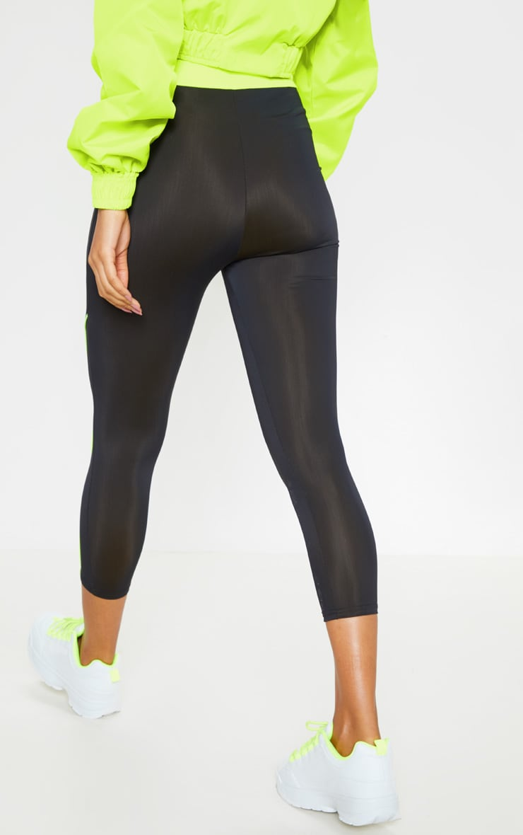 Black Contrast Waistband Cropped Legging 3