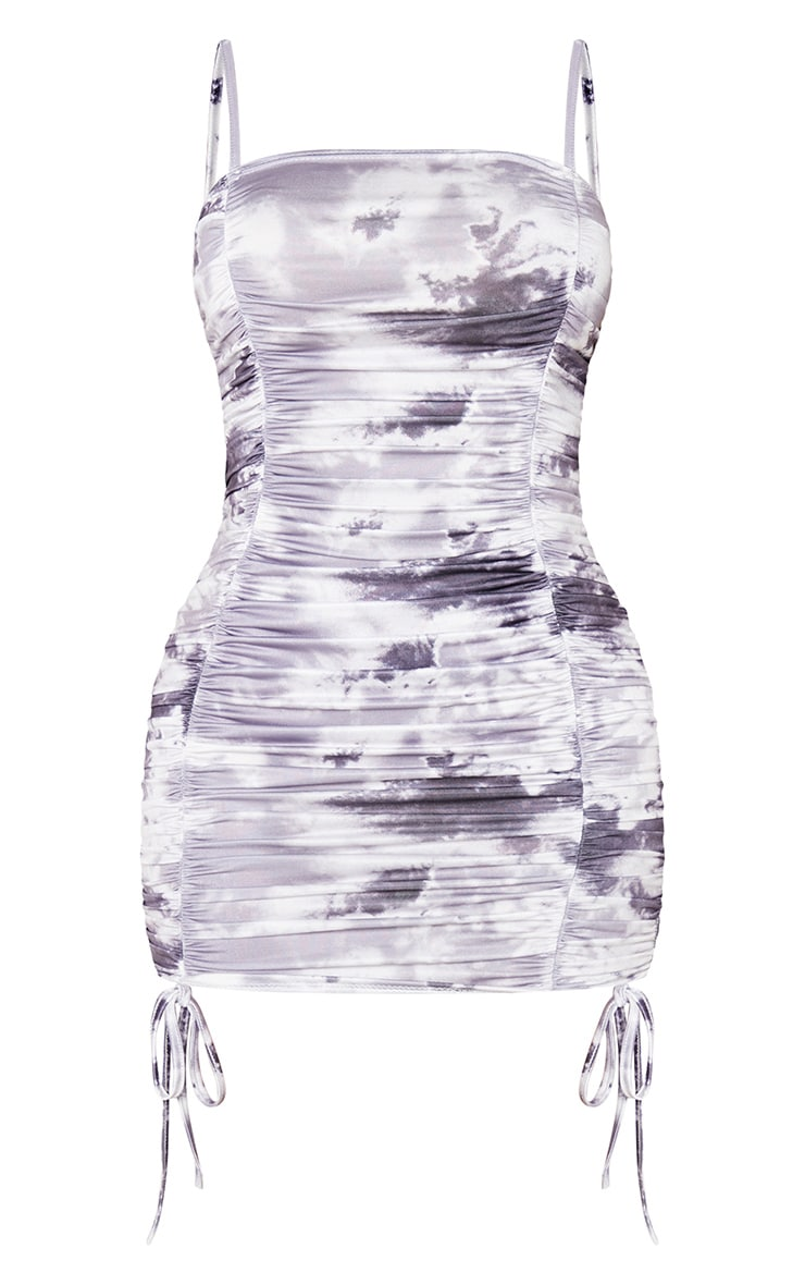 Shape Black Camo Ruched Front Bodycon Dress 3