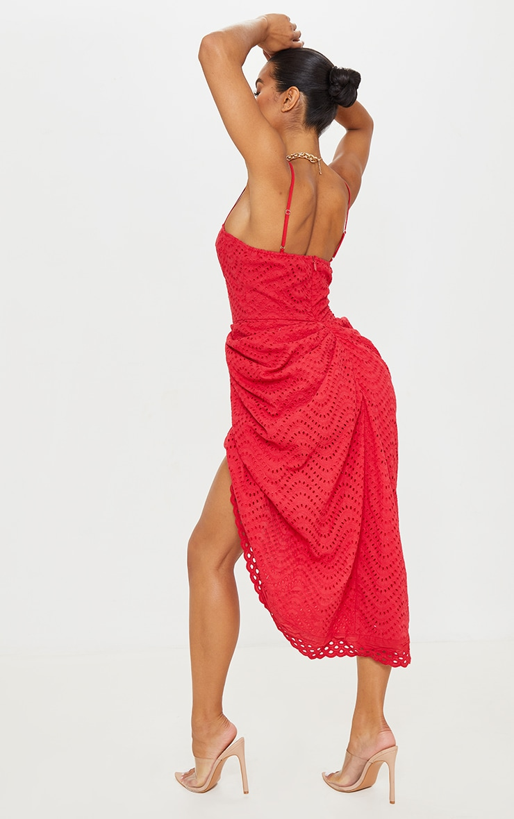 Red Broderie Anglaise Strappy Corset Drape Midi Dress 2