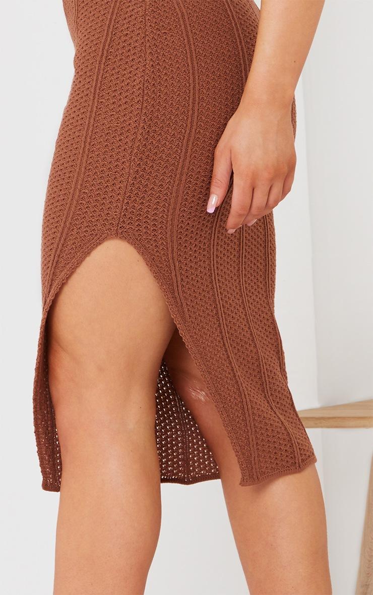 Rust Pointelle Tie Neck Midi Dress 4