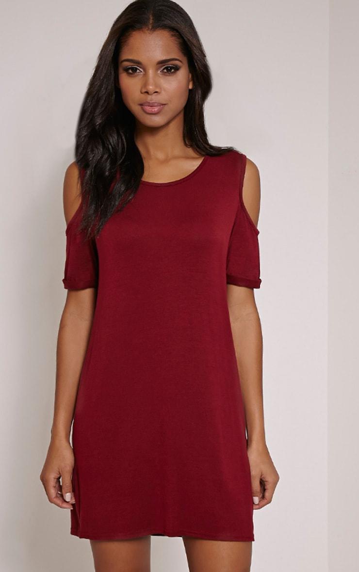 Basic Burgundy Cut Out Shoulder Dress 4