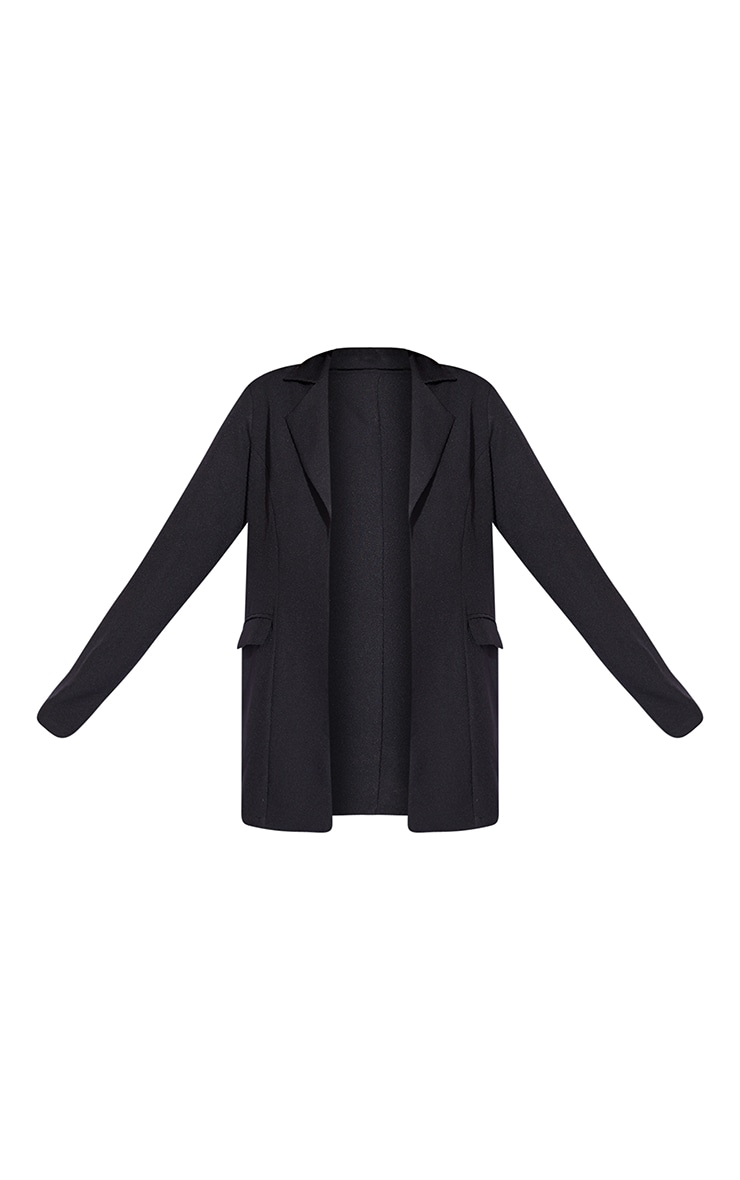 Black Woven Fitted Longline Blazer 5