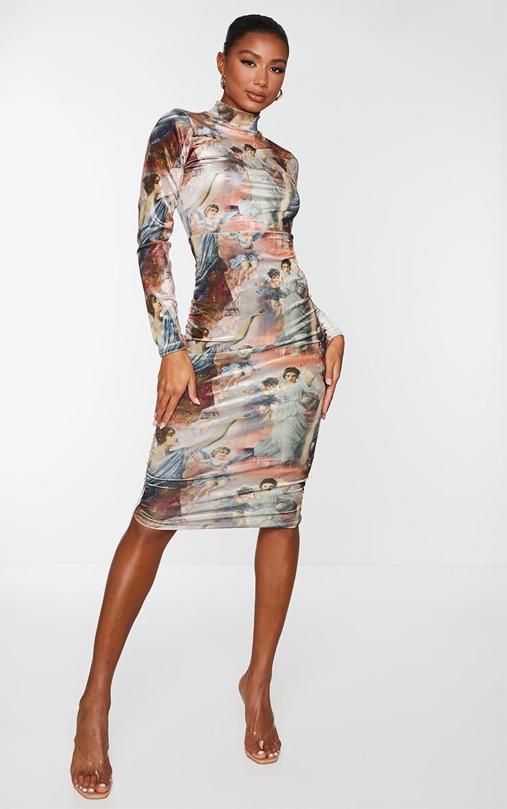 Nude Renaissance Print Velvet High Neck Ruched Side Midi Dress 1