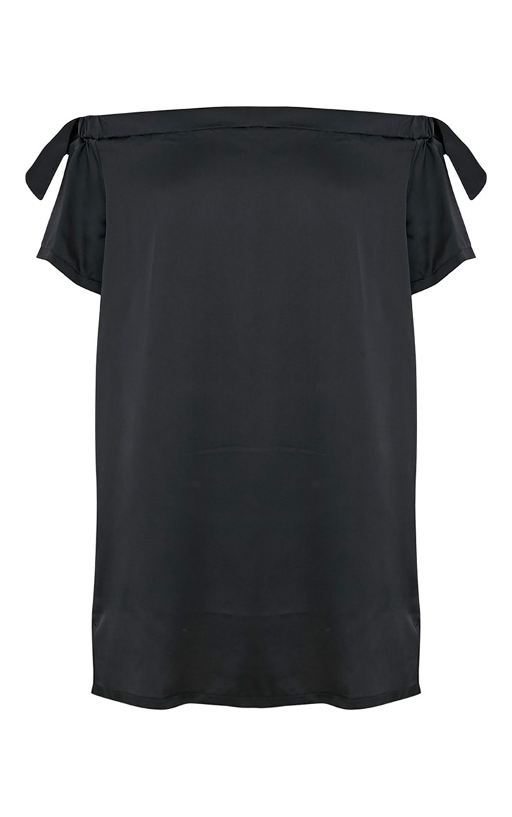 Ashlina Black Silky Bardot Shift Dress 3