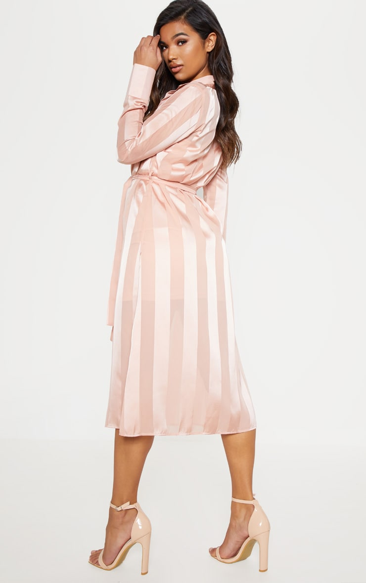 Champagne Satin Stripe Midi Shirt Dress 3
