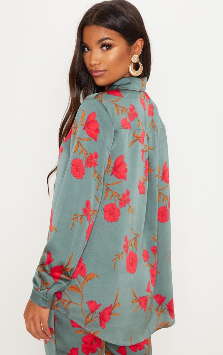 Green Floral Print Oversized Shirt 3