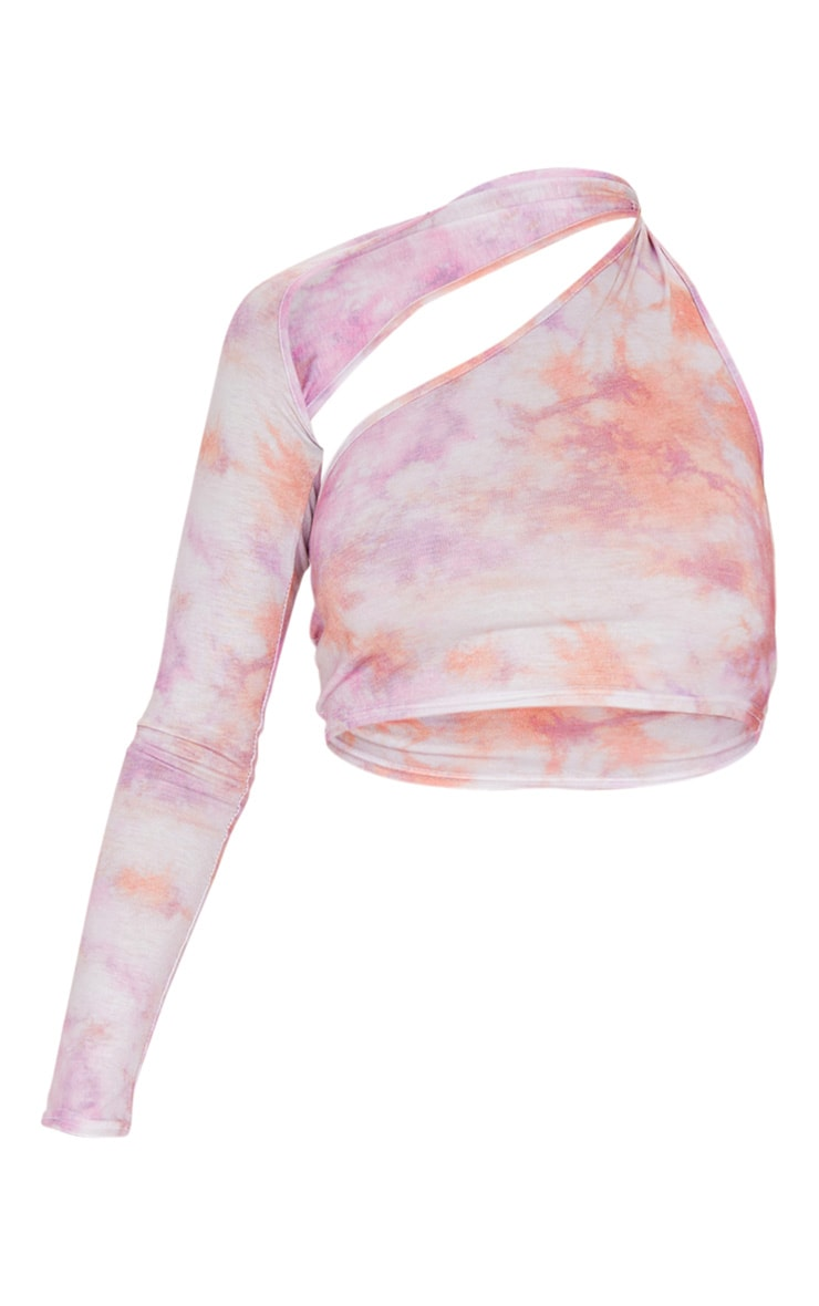 Pink Tie Dye One Shoulder Asymmetric Crop Top 3