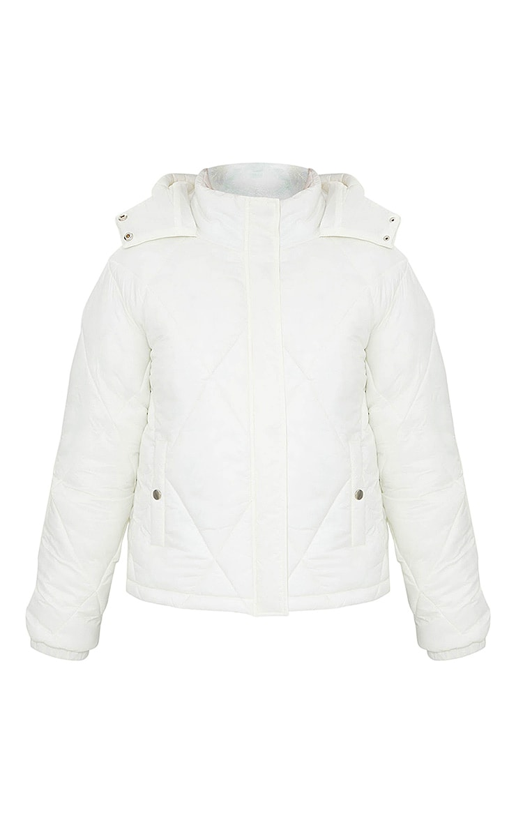 White Nylon Diamond Quilted Hooded Puffer Jacket 5
