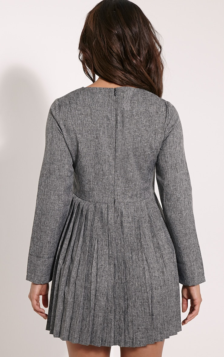Kay Grey Pleated Long Sleeved Mini Dress 2