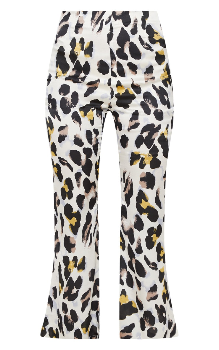 White Satin Leopard Print High Waisted Wide Leg Pants 3