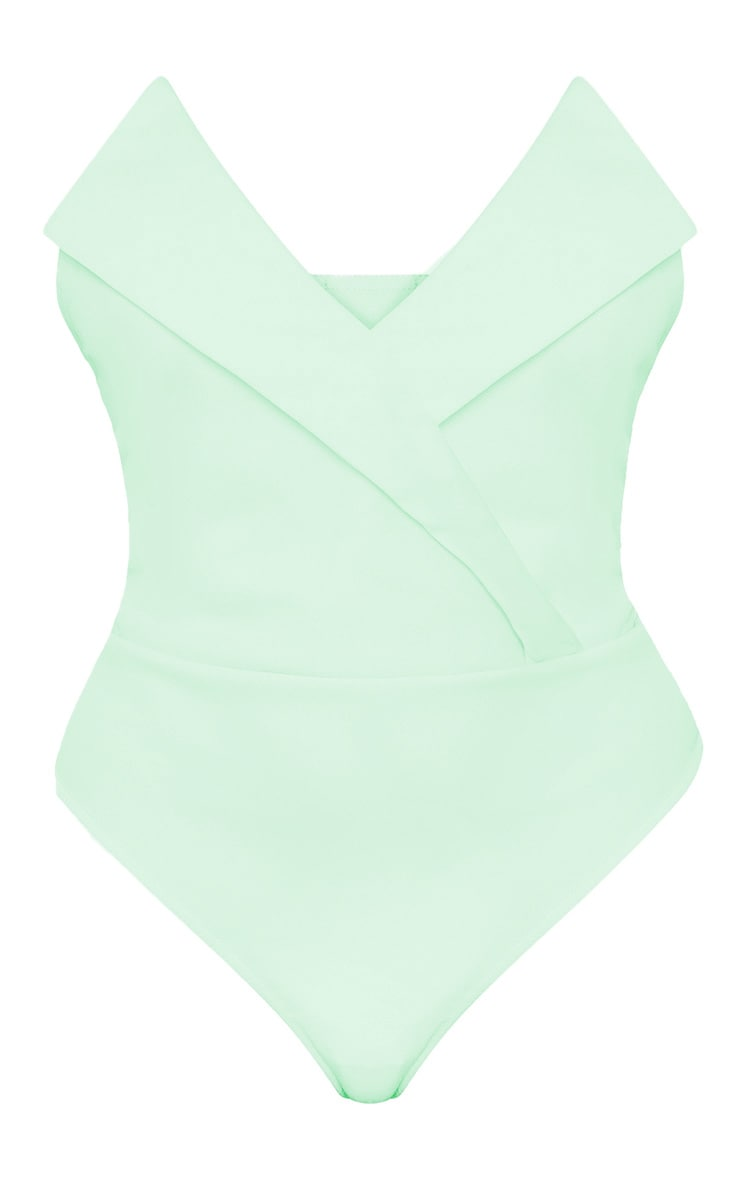 Plus Mint Tux Detail Bandeau Thong Bodysuit  3