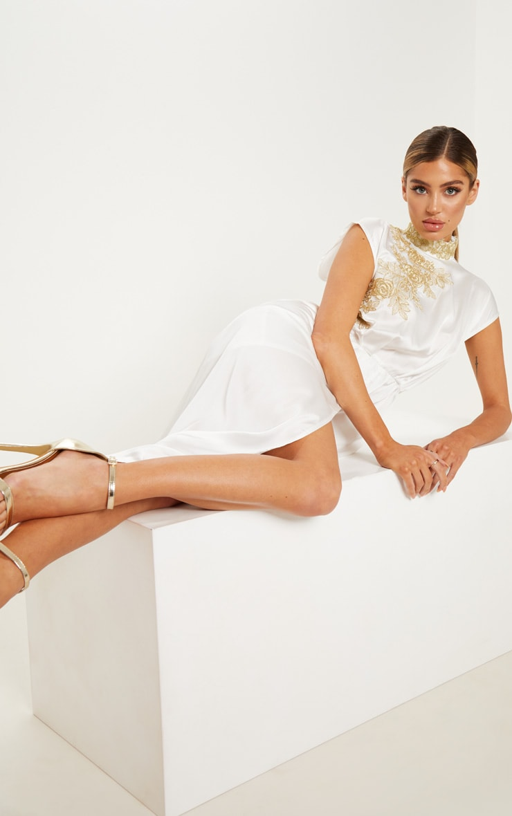 White High Neck Gold Embroidered Drape Playsuit 4