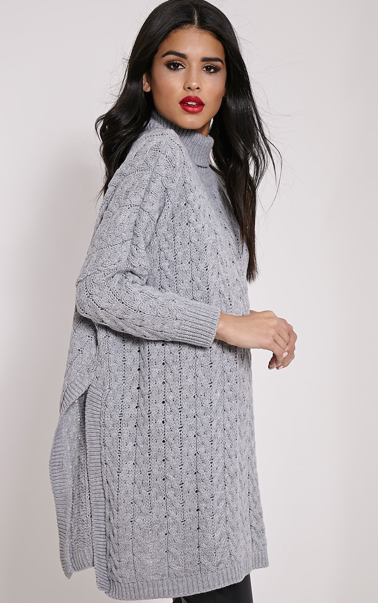 Juju Light Grey Cable Knit Oversized Jumper 4