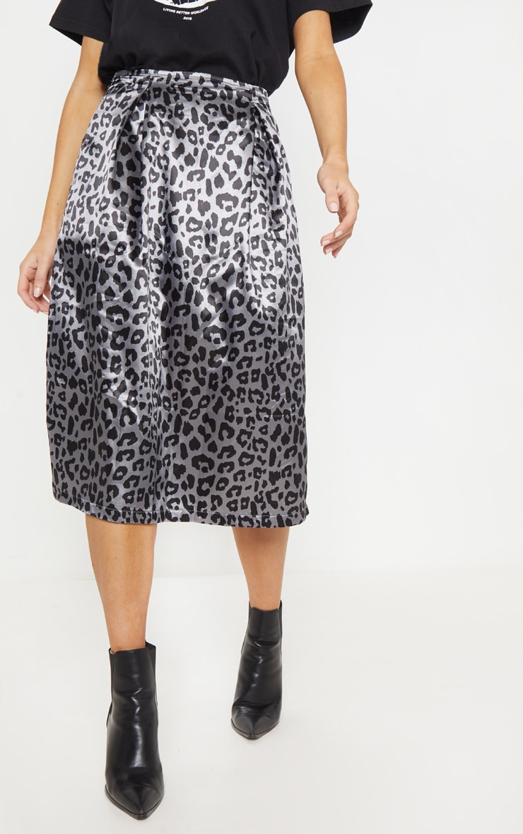 Charcoal Leopard Print Pleat Front Woven Midi Skirt 2
