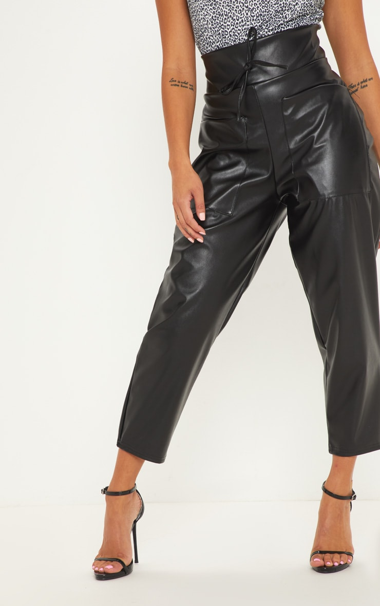 Petite Black Pocket Detail Faux Leather Joggers 2