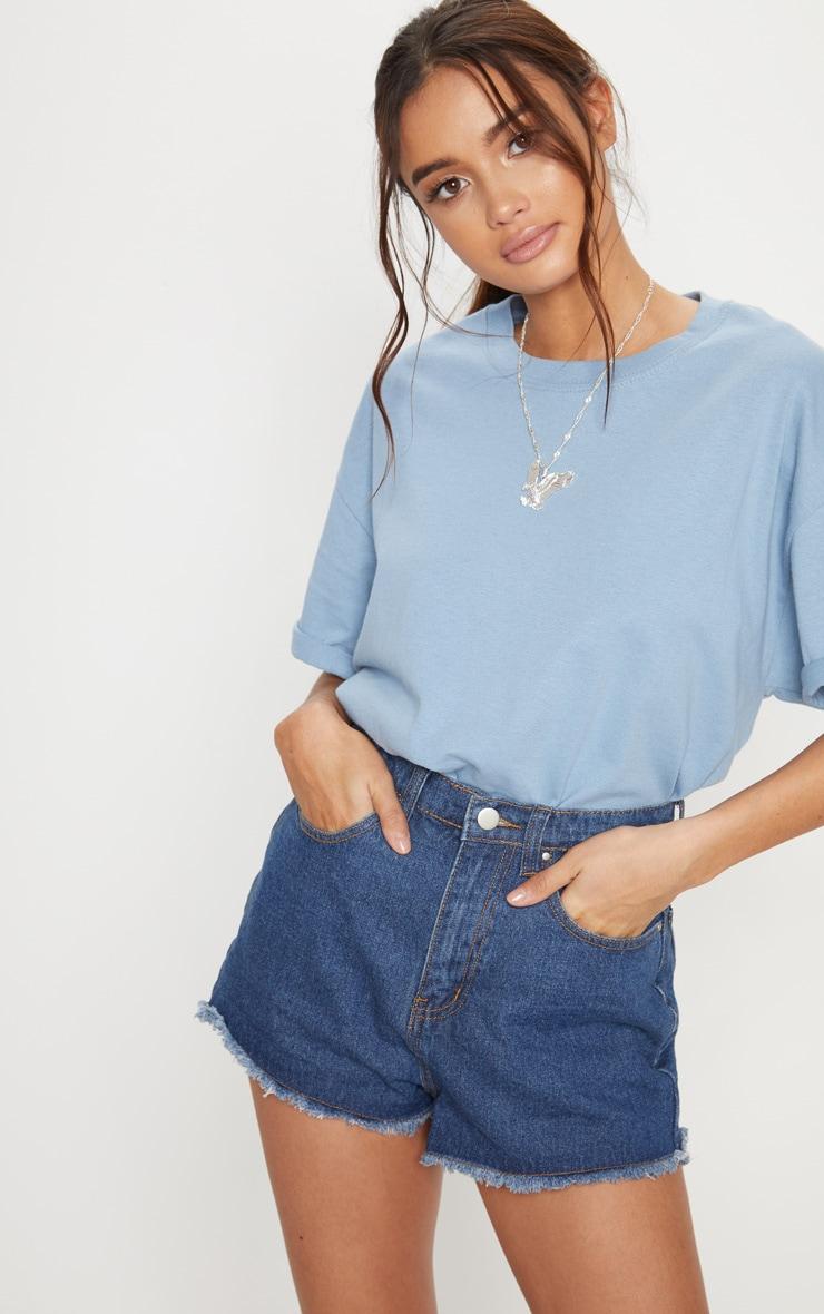 Short en jean bleu taille haute
