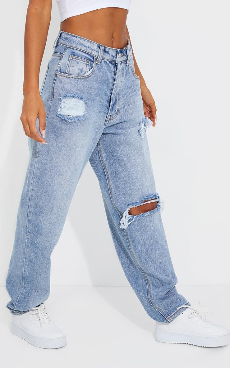 PRETTYLITTLETHING Light Blue Wash Open Knee Boyfriend Jeans 2