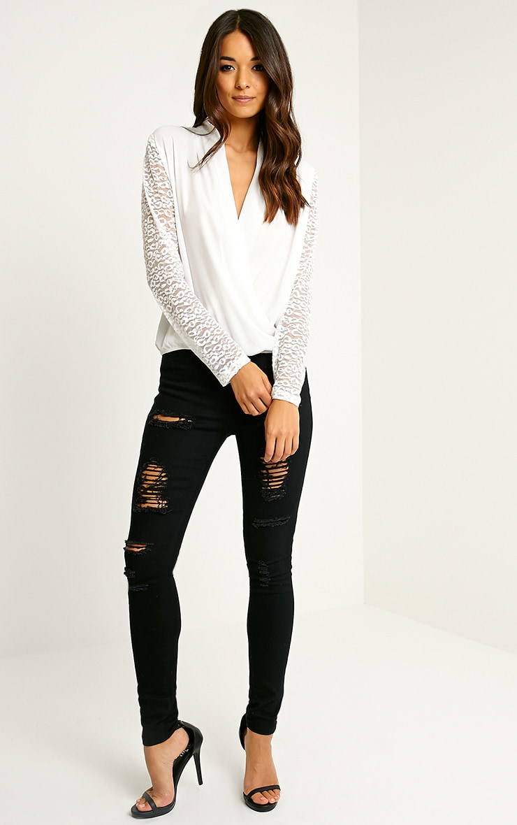 Carlene White Lace Sleeve Wrap Top 3