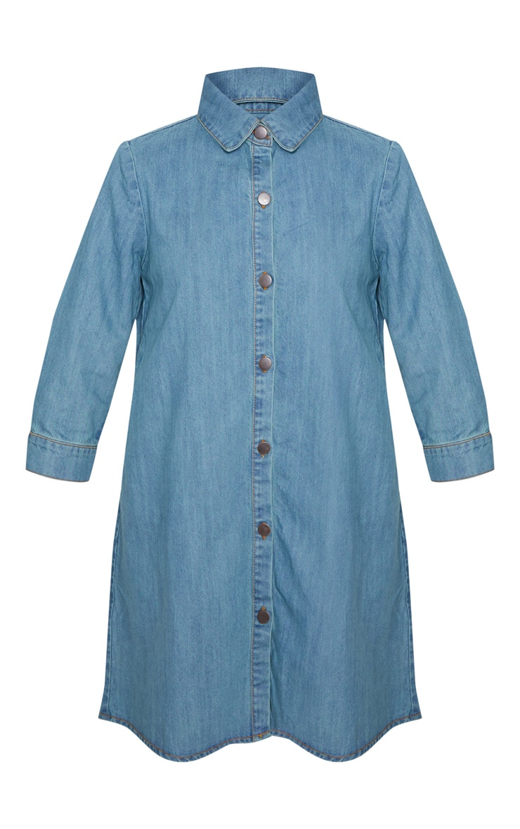 Marriet Mid Wash Button Through Denim Shirt Dress 3