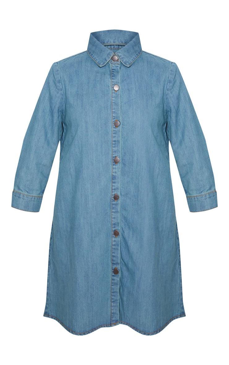 Robe chemise longue en jean à délavage moyen à boutons 3