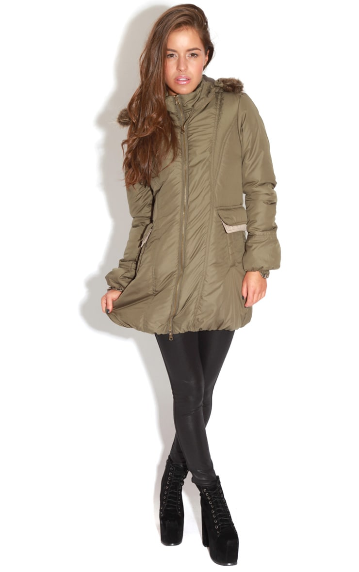 Cyra Khaki Parka With Fur Hood -16 5