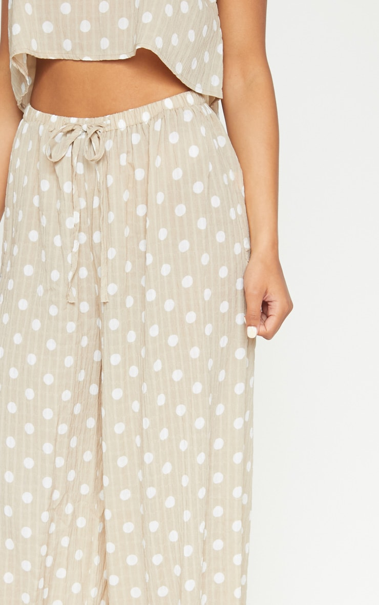 Stone Cheesecloth Polka Dot Wide Leg Trousers 5