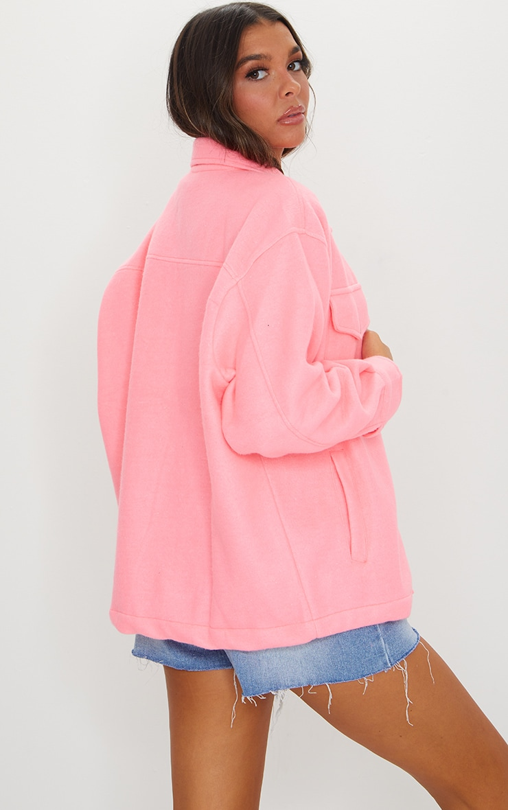 Neon Pink Pocket Front Shacket 2