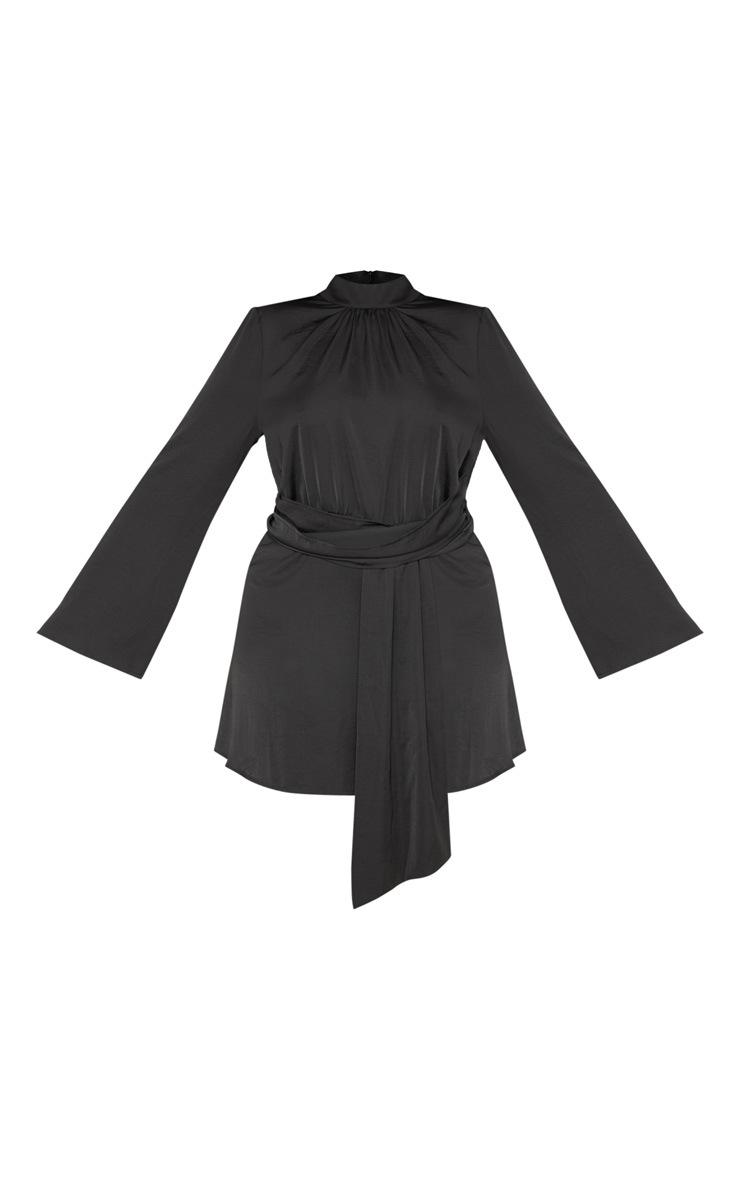 Plus Black Hammered Satin Drape High Neck Shift Dress 3