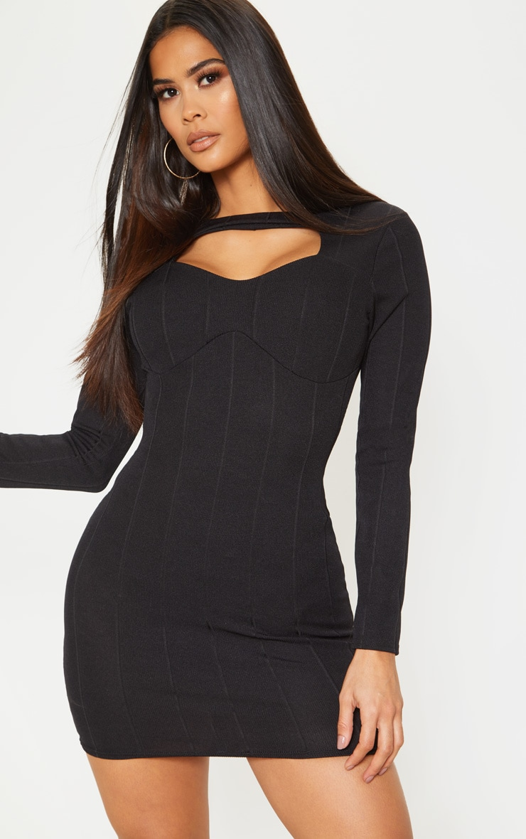 Black Bandage Rib Long Sleeve Cut Out Detail Bodycon Dress 1