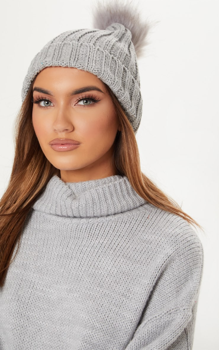 Grey Knitted Faux Fur Bobble Hat